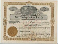 1909 Miners' Savings Bank & Trust Co. Stock Certificate Butte Montana