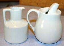 Collectible Small Mini White CeramicPitcher Creamer Set of 2, used