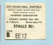 1970 Fairport Convention concert ticket stub City Hall Sheffield UK