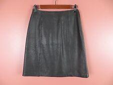 LTR0545-JACQUELINE FERRAR Woman Lamb Leather Pencil Skirt Black Geo Imprint Sz 4