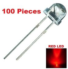 100 X Red LED 5mm Straw Hat Ultra Bright Wide Angle Light Long Lasting Lamp