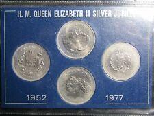 1952 - 1977 Silver Jubilee 4 Coin Set Gibraltar Bailiwick of Jersey Guernsey