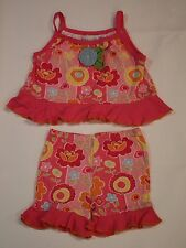 Baby Lulu Pop Art Pink Orange Floral Outfit Tank Ruffled Shorts Baby Girl 18 mo
