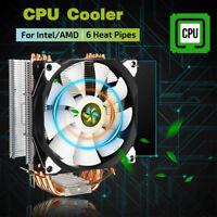 6 Heat Pipe CPU Cooler Cooling Silent For Intel LGA775/1150/1151/1155/1156/AMD