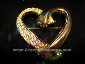 Swarovski Gold Heart Brooch Pin PN264369