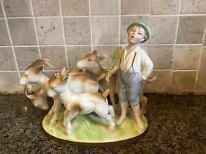 Vintage German Bisque Porcelain statue Boy And Goats marked Germany