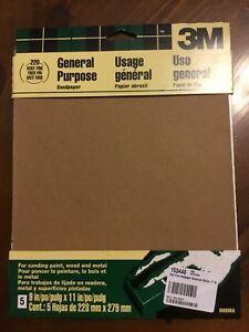 "3M Sandpaper General Purpose, 5- 9""x11"" sheets very fine 220 grit"