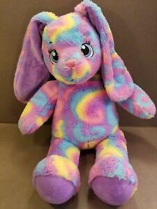 "Build a Bear 16"" Bunny Rabbit Purple Rainbow Swirl Plush Toy Stuffed Animal BAB"
