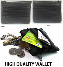 Ladies Men Genuine Leather Mini Coin Card Bags Purse Pouch Wallets Zipper zip4Cn