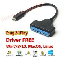 "USB Type-C to SATA 7+15 Pin 22Pin Adapter Cable For 2.5"" HDD Hard Drive Disk AU"