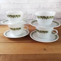 SET of 4 Corelle Crazy Daisy Coffee Tea Cup Mugs Saucers Green Flower Corning