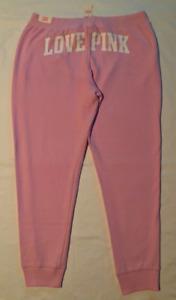 New Victorias Secret Large Classic Jogger fleece sweatpants LOVE PINK back logo