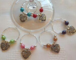 Filigree Heart Wine Glass Charms x 6 or 10 6