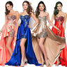 Women Irregular Dress Long Formal Prom Party Ball Gown Pageant Evening Beaded