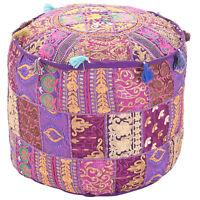 "Pouf Ottoman Ethnic Pillow Decor Indian Saree Pouffe Round Poof Foot Stool 18"""