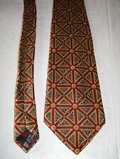 Lanvin Paris burgundy red & gold print silk tie
