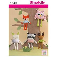 SIMPLICITY SEWING PATTERN STUFFED TOYS OWL BUNNY RACCOON FOX DEER OS 1549