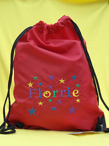 Personalised Embroidered Drawstring Bag PE Swim Boy/Girl Kids Star Design Gift