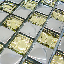 Italian Design Silver & Gold Glass Square Mosaic Sheet Tiles 30cm X 30cm