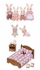 Three Sylvanian Families Sets - Milk Rabbit Family, Rabbit Twins and Bed