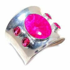 Pink Turquoise, Rubellite Gemstone Handmade Jewelry Cuff Bracelet Adst.