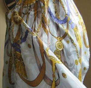 "Vintage Large Blue Italian Hemmed 100% Silk Scarf 33"" Square"
