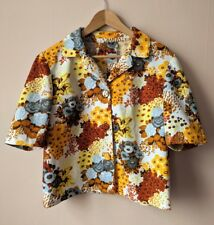 60s 70s vintage floral short sleeved summer jacket 16 - 18 brown yellow grey