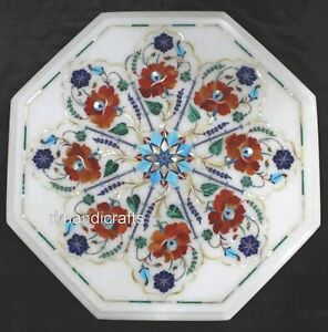 """15"""" Marble Inlay Table Top with Gemstones Art Coffee Table from Cottage Crafts"""