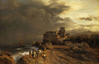 Oil painting Retreating Storm on the Italian Coast figures by ocean no framed @@