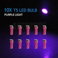 10pcs T5 LED Angle Xenon Purple SMD Bulb Car Dashboard Panel Wedge Bulbs Light