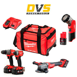 Milwaukee M18 18V Fuel 4 Piece Cordless Kit M18FID2-0 M18FPD2 Batteries Charger
