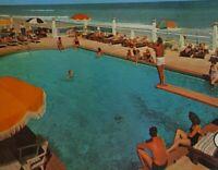 Blue Grass Miami Beach Spacious Lawns Private Pool Lounge Vtg Postcard Litho