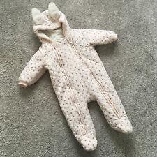 def2e7214 Next Baby Girl Pink Floral Fern Print Snowsuit Age 3-6 months Rabbit Ears  Fleece