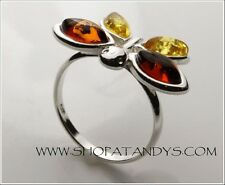 EXCEPTIONAL GENUINE BALTIC AMBER 925 STERLING SILVER BUTTERFLY RING SIZE 5