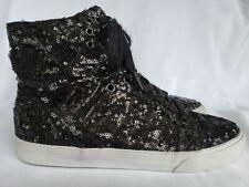 SUPRA Skytop High Top Shoe Sneaker Sequin Black Skate Fashion Women Size 9 12029