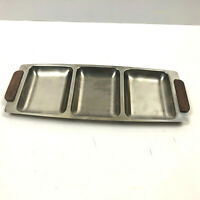 MCM Stainless Steel Metal Tray Wood Handles 3 Slots Serving Dish