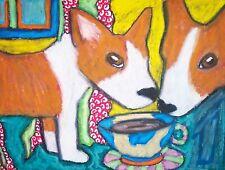PEMBROKE WELSH CORGI Drinking Coffee Dogs Collectibles 8 x 10 Pop Folk Art Print