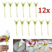 12Pcs Porte Serviette Clip de Fleur Papier Vert Décor Art Table Restaurant Hotel