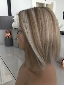 """Glueless Highlights Ombre Blonde Ash Grey Wig 8"""" 100% Lace Virgin Human Hair ."""