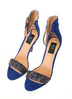 AX Paris Barely There Heels Gem Encrusted Cobalt Heeled Sandals