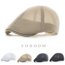 Mens Ivy Hat Summer Breathable Mesh Beret Newsboy Hat Ivy Cap Cabbie Flat Cap H2