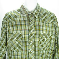 Wrangler Mens Western Shirt Size XL Green Yellow Plaid Pearl Snap Long Sleeves