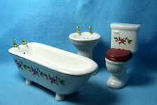Dollhouse Miniature Bathroom Porcelain 3 Pc with Pink Floral Design ~ TLF111
