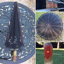 Vintage Umbrella Parasol Apple Juice Lucite Floral Handle ☔️ Polan Katz & Co
