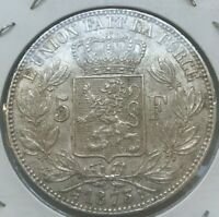 1873 Belgium 5 Francs - Nice Big Silver