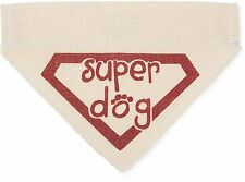 "Super Dog Bandana Slip On Over Collar Canvas 7"" x 5"" New Small Superhero"