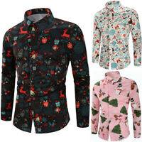 NEW Men's Christmas Theme Button Up Long Sleeve Slim T Shirt Basic Top Blouse
