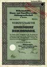 Wilhelmshütte 1934 Sprottau Szprotawa Kotzenau Schlesien 100 RM Vorzugsaktie VZ