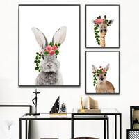 Flower Rabbit Deer Baby Animal Poster Nordic Style Wall Art Canvas Nursery Print