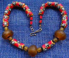 NEW necklace recycled handmade red amber black glass star beads chunky K107